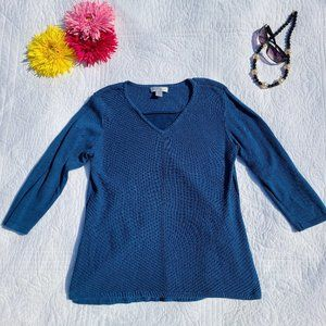 Christopher & Banks Blue Cotton Knit Sweater Med
